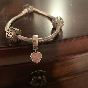 Pandora Pink Enamel Heart Charm